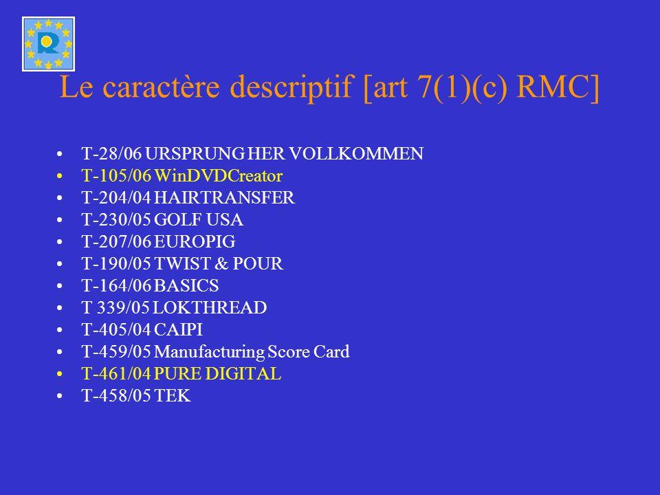 Le caractère descriptif [art 7(1)(c) RMC]